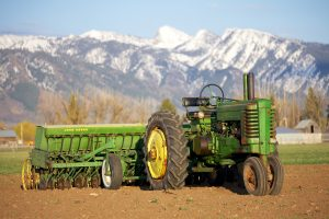 John Deere A with Grain Drill